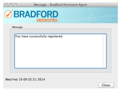 Bradford Control panel with successful registration confirmation